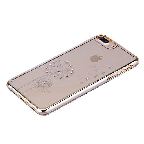 iPhone 8 Plus Custodia, iPhone 8 Plus Cover, iPhone 8 Plus 5.5 Plus Custodia Trasparente, JAWSEU Sparkles Cristallo Chiaro Super Sottile Case Custodia Cover per iPhone 7/8 Plus con Placcatura telaio c Dente di leone Oro