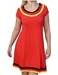 Unique boutique-rouge-robe de l'allemagne coupe du monde de football-taille 36 38 40 42 football-eliminatoires coupe du monde 2014 jaune/noir/rouge/or avec froufrous