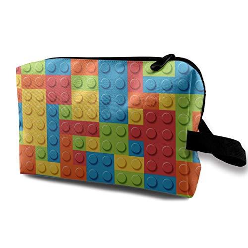 Colorful Building Blocks Pattern Small Travel Toiletry Bag Super Light Toiletry Organizer for Overnight Trip Bag - Speedo-block