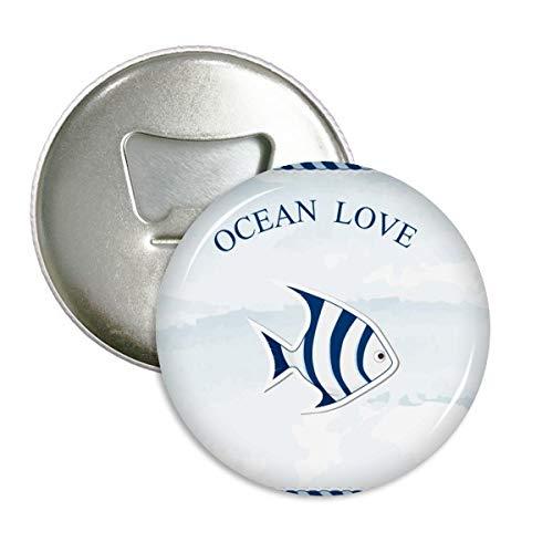 DIYthinker Tropische Fische Ozean-Liebe Meer Segeln Blau Runde Flaschenöffner Kühlschrankmagnet-Abzeichen-Knopf 3Pcs Geschenk Silber -