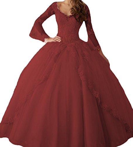 O.D.W Appliques Langarm Prinzessin Brautkleider Abendmode Lange Formales Party Ballkleider Süße 15...