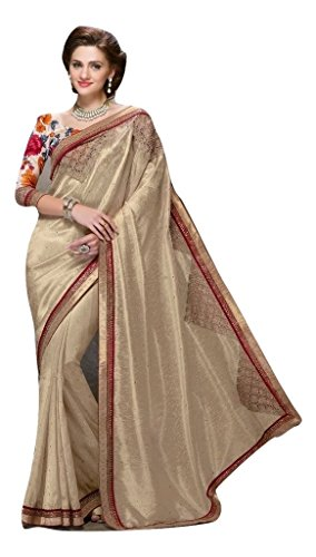 Jay Sarees Faux Georgette Saree With Blouse Piece (Jcsari3003-402_Begie_Free Size)