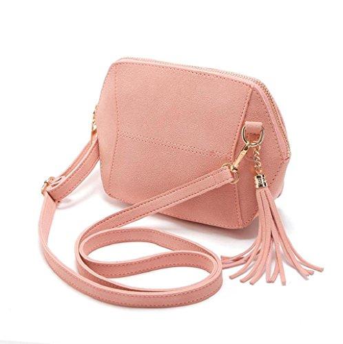 Bolsos bandolera, Sannysis Bolsa de cuero bolso mujer pequeño, 21x4x17 cm (B x H x T) (Rosa)