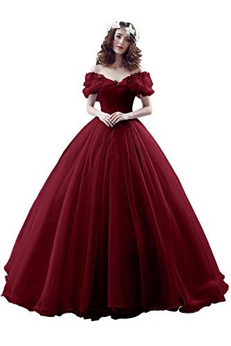 (Victory Bridal Wunderschoen Weinrotes Kurzarm Abendleider Quincenera Ballkleider Lang Promkleider Cinderella -36 Weinrot)