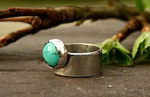 Contemporary Handmade Sterling Silver Wide Band Ring with 12mm Bezel Set Turquoise Cabochon Stone.