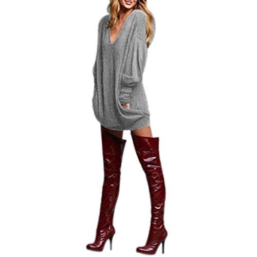 FEITONG Moda del tamaño extra grande de las mujeres ocasional camisa cuello en V manga larga remata la blusa (XL, gris)