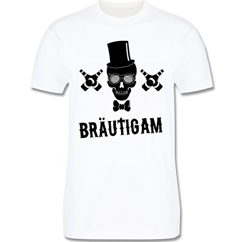 JGA Junggesellenabschied - Bräutigam Totenkopf - Herren Premium T-Shirt Weiß