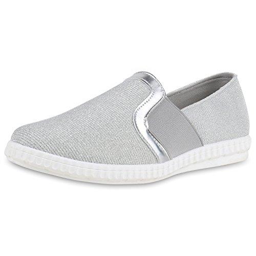 Slip-Ons Damen Glitzer Slipper Metallic Sneakers Freizeit Flats Silber