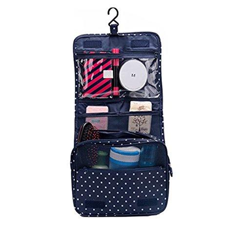 Braun Pocket Organizer (Fieans Frauen Doppel Schicht Reise Kulturwasch Organizer Faltbare Waschtasche Toiletry Bag Kosmetiktasche Wasserdicht-Navy Punkt)