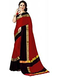 High Glitz Fashion Women's Red & Black Colour Poly Cotton Saree With Blouse Piecs