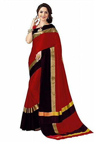 High Glitz Fashion Women's Red & Black Colour Poly Cotton Saree With...
