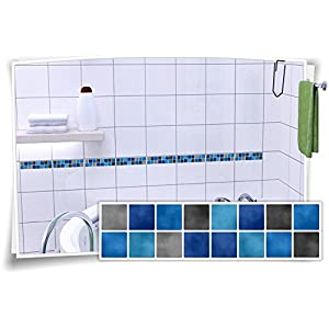 Fliesenbordüre überkleben fliesenaufkleber 20 20 mosaik blau deine wohnideen de