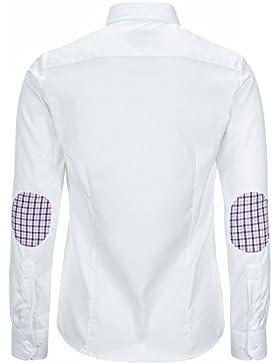 L. Bo Apparel, Neat: Blusa Blanca con Parches en los Codos, Blusa Elegante para Mujer Elbow-Patches