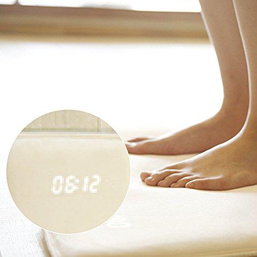 Wecker - Smart Rug - Digitales Display, hohe Dichte, druckempfindlich für schwere Schläfer, moderne Studenten, Teppich-Wecker stoppt nur, wenn Sie darauf stehen. 40 x 38cm,white weiß (Teppich-wecker)