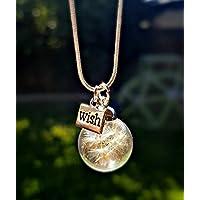 Joyas de cumpleaños Plata de ley 925 Collar del diente de león Amuleto con CAJA DE REGALOS Dije personalizado joyería Terrario de vidrio colgante Cadena plata esterlina
