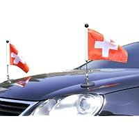 DIPLOMAT-FLAGS Couple Porte-drapeau de voiture Diplomat-1 Suisse à adhésion magnétique