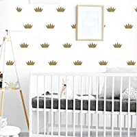 RUBY STORES - Gold Princess Crown Stickers, Kids Girl Wall Decor Mini Princess Crown Decal