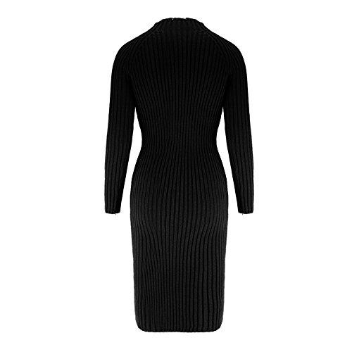 Eleery Robe Pullover Femme Tricoté Tops Blouse Col à Roulé Automne Hiver Sexy Casual Party Sweatshirt Cocktail Soirée Noir