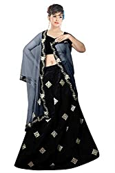 Florence Womens Silk Black Embroidery Lehengha Choli(MX004_Black)
