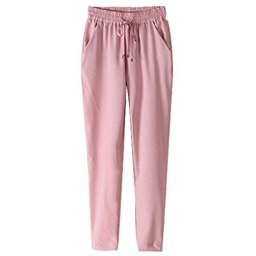Gemini _ Mall® da donna con elastico in vita pantaloni da donna pantaloni su tutta la lunghezza Pink