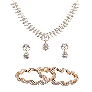 Zeneme Precious American Diamond Necklace Set & Bangles Combo Set For Women