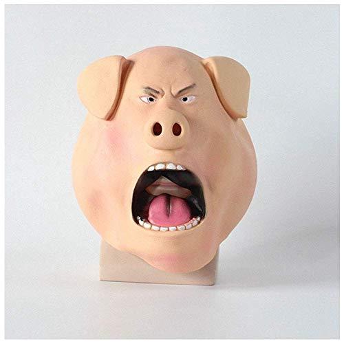 YaPin Glückliche Gute Stimme Schweinekopf Maske Cos wütend böse Schweinekopf Set Latex Rosie Halloween Horror Requisiten (Böse Augen Halloween Make-up)