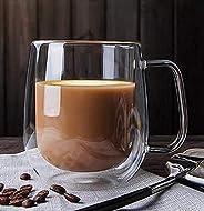 Home-Cart Mug Double Wall Tableware Glass Cup Mug Heat-Resistant for Tea Coffee Latte Espresso Iced Tea Dishwa