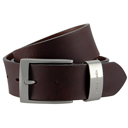 Pierre Cardin Mens leather belt / Mens belt, full grain leather belt XL with metal loop, dark brown, Size:145