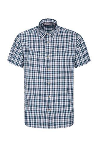 Mountain Warehouse Weekender Kurzarmhemd für Herren - Sommerhemd aus 100% Baumwolle, Freizeithemd, atmungsaktiv Kariertes Hemd, bequemes Oberteil Kurzarm-Shirt Petrolblau XXX-Large