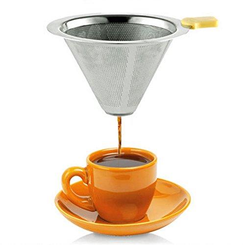 Kaffee-filter Cone (Double Layer wiederverwendbar Kaffee Filter, Edelstahl Kaffee Filter, Kaffee Tropfer über Mesh, Gießen Kaffee über Filter Gießen Membran Tropfer 1–2Tasse Küche Supplies–Silber, 6,3x 2x 10,2cm)