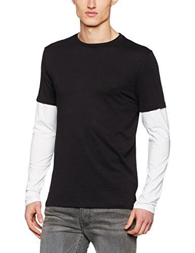 New Look Herren T-Shirt Contrast Layered Schwarz, L (T-shirt Layered)