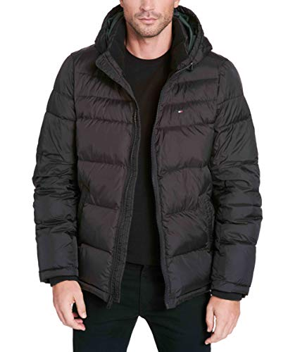 Tommy Hilfiger Men's Tall Big Insulated Midlength Quilted Puffer Jacket with Fixed Hood, Black, 2X - Tommy Hilfiger Quilted Coat