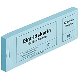 Omega Print Entrance Tickets with Mat, 14 x 5 cm 100 Single Cards – Blue