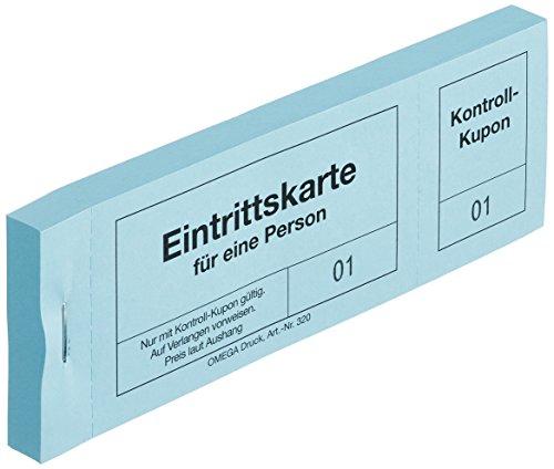 Omega Eintrittskarten 320/4, 14 x 5 cm, Block mit 100 Abrissen, blau
