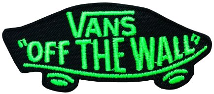 Skateboard See (Vans Off The Wall Skateboard schwarz & grün bestickt Badge Patch zum Aufnähen oder Aufbügeln auf 9,2cm x 4cm)