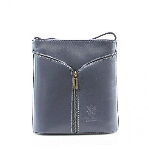 Da donna Fashion Designer piccola borsa a tracolla in pelle italiana di qualità cwv0026 L.GREY H20cm x W18cm x D7cm
