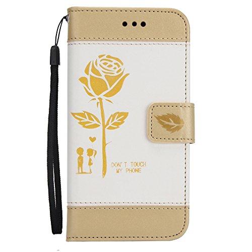 Leather Iphone 5 case,Geprägt Rosen hülle,Magnetisch PU-Leder Geldbörse Flip Wallet Cover in Book Style Stand Case GY-honeq für apple iphone 5/5s/se?Gold Weiss