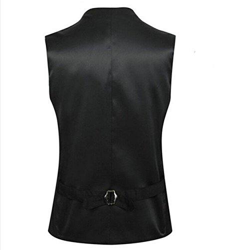 Anfooto Herren V-Ausschnitt Ärmellose Westen Slim Fit Jacke Lässige Weste Anzug Business Anzugweste Schwarz
