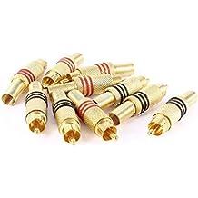 Conectador del enchufe de RCA macho - SODIAL(R)10 piezas de adaptador de conector de audio de enchufe RCA macho de metal de resorte de tono de oro