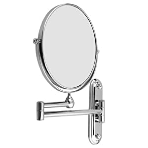 Dproptel 8 Inch Wall Mounted Shaving Mirror Extending Folding Double Side Cosmetic Make up 5xMagnification Bathroom Makeup Mirror