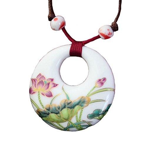 Designer Berühmt Modeschmuck (Halskette mit Porzellananhänger 100% Handgemalte Eleganter Porzellanschmuck)