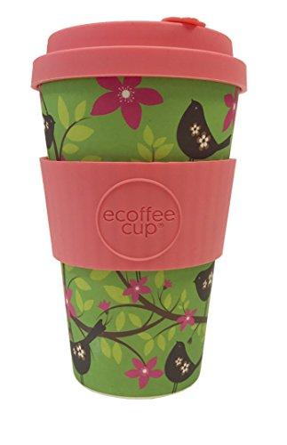 Ecoffee Cup Widdlebirdy grün, pink 1Stück (S) Tasse und Becher-Tasse/Becher (nur, 0,4l, Grün, Pink, aus Bambus, Silikon, 1Menschen (S), 1Stück (S))