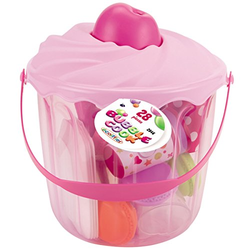 Preisvergleich Produktbild Bubble Cook 28-teiliges Geschirrset mit Eimer in Muffin-Form • Kinder Geschirr Puppenservice Muffin Picknickgeschirr Party Spielset