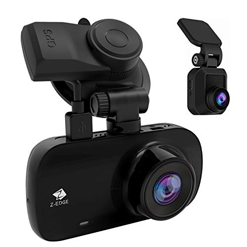 Z-Edge GPS Dashcam Dual Autokamera Ultra HD 1440P mit Rückkamera Full HD 1080P 2,7 Zoll LCD Bildschirm, 150° Weitwinkelobjektiv, Loop-Aufnahme, WDR, G-Sensor, Bewegungserkennung, Parküberwachung