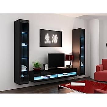 High Gloss Living Room Set With Led Lights Tv Stand