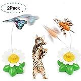 Creation® Set bestehend aus 2 Elektrische Pole Schmetterling Interactive-Spielzeug für Katze/Kitten Fangen, Spielen, Jagen