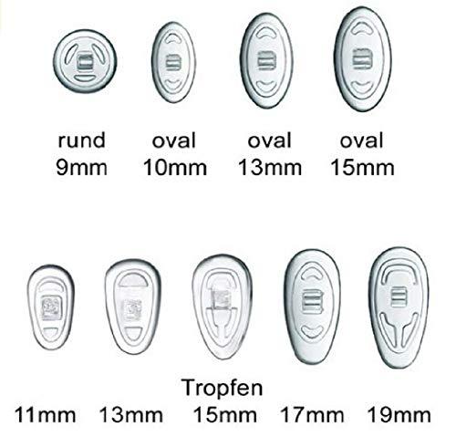2 Paar (4 Stück) Nasenpads / Brillenpads - Silikon Schraubsystem, vers. Größen (Tropfen 13mm)