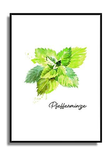 Wandbild Kunstdruck Poster PFEFFERMINZE im A4 Format, moderne Bild Deko für die Küche