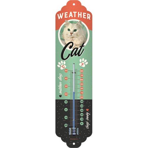 Nostalgic-Art 80319 Weather Cat | Retro Thermometer | Innen | Wand-Dekoration Accessori Decorativi, Metallo, 28 x 0 x 7