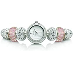 Accurist Ladies Pretty In Pink Silver Plated Charmed Bead Watch
